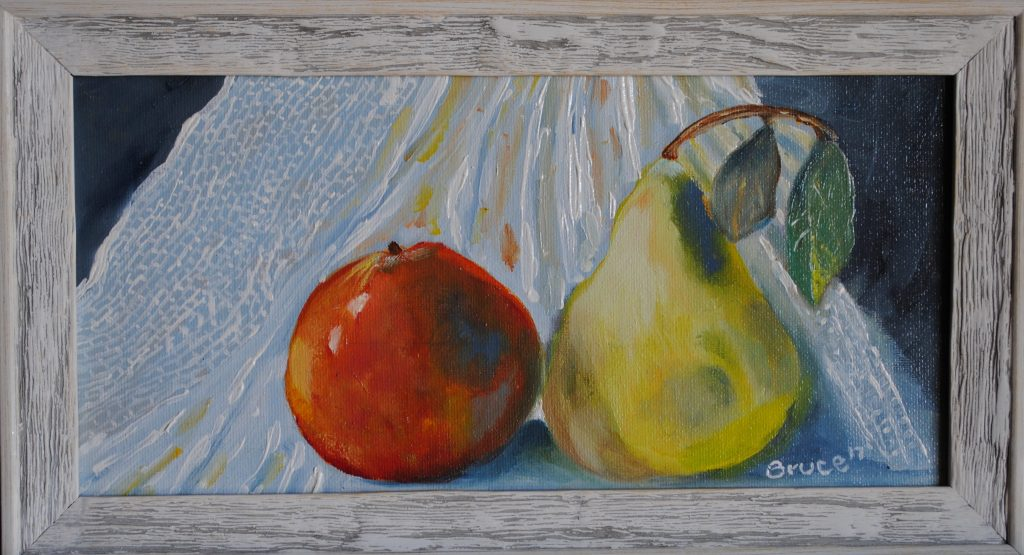 Apple, Pear, Art By Bruce, Still Life,