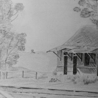 Jongensklip Station, Pencil Drawing, artbybruce - Bruce Andrew - Art for Sale