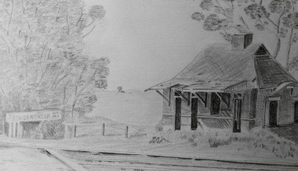 Jongensklip Station, Pencil Drawing, artbybruce - Bruce Andrew - Art for Sale
