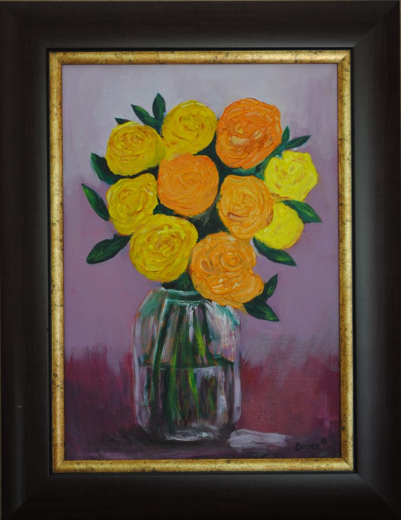 Roses, In a Bottle, Oil Painting by Bruce, Art By Bruce, Art For Sale