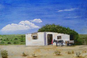 Acrylic Painting Donkey Cart Karoo