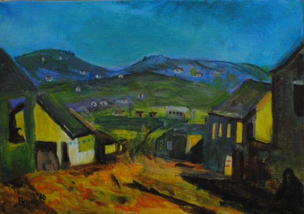 Transkei, sunset, village, landscape, art by bruce