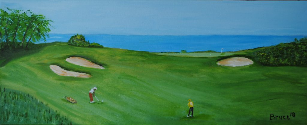 Art By Bruce, Oil Painting, Landscape, Golf, Mauritius, 4th Hole, Anahita