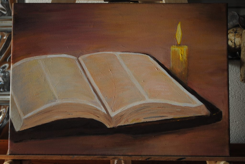 Art By Bruce, Oil Painting, Still Life, Bible and Candle,