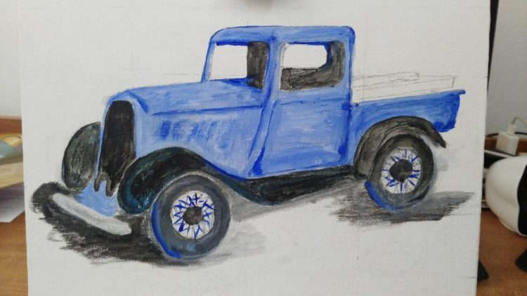 Oil Paintings, Cityscape, Blue, Dodge, Truck, Bakkie, Pickup