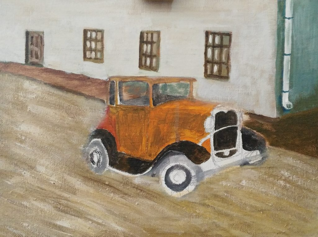 Art By Bruce, Oil Painting, 1929 Chev, Oil Painting, Streetscape