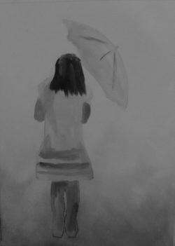 Art By Bruce, Oil Painting, landscape, Girl, Walking, Rebecca,
