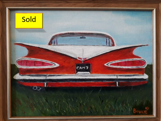 Art By Bruce, Acrylic Painting, 1959 Chevrolet Biscayne, Streetscape