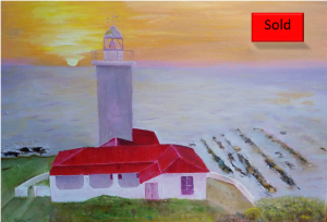 Art By Bruce - Seascape - Lighthouse - Oil Painting - Cape St. Blaize - South Africa