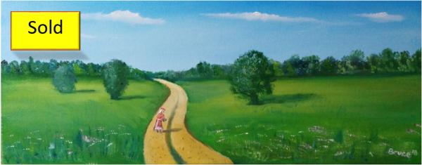 Art By Bruce, Oil Painting, landscape, Lady, Walking,
