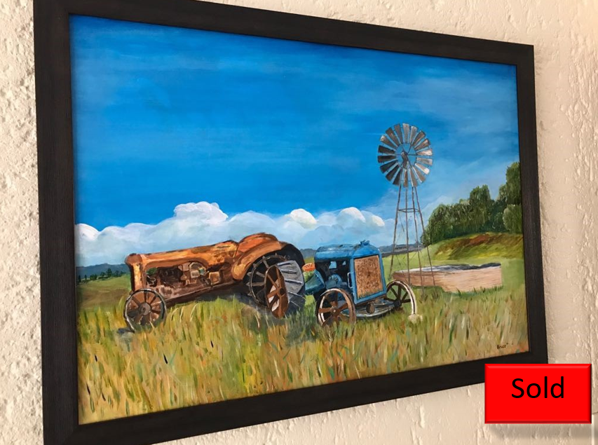 Art By Bruce, Acrylic Painting , Farmscape, Landscape, Tractors