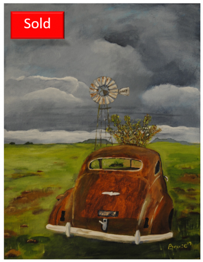 Art By Bruce, Landscape, Acrylic Painting, Buick, Wreck, Windmill