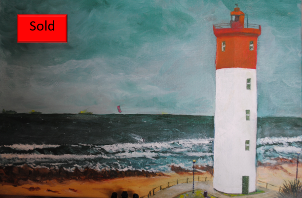 Art By Bruce - Seascape - Lighthouse - Oil Painting - Umhlanga Rocks - South Africa