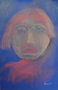 Art By Bruce, Oil pastels ,Whimsical, Portrait, That Girl