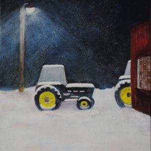 Art By Bruce, Oil Painting, Landscape, Farmscape, Tractors, Snow, John Deere