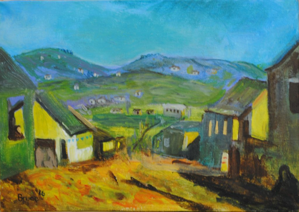 Art By Bruce, Acrylic Painting, Landscape, StreetScape, Transkei Sunset