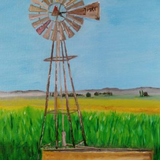 Windmill, Drought, Cornfield, Art By Bruce, Oil painting By Bruce, Art for Sale